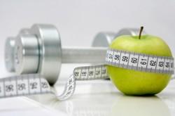 Personal Training, apple,dumbbell, measuring tape