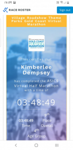 kimberlees marathon time